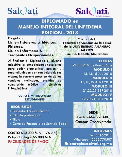 Diplomado en manejo integral del Linfedema edición 2018 – Salvati