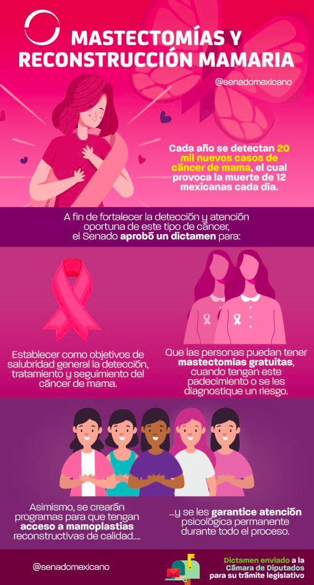 El Senado de la República publica infografía explicado que la reconstrucción mamaria es parte de los servicios básicos de salud