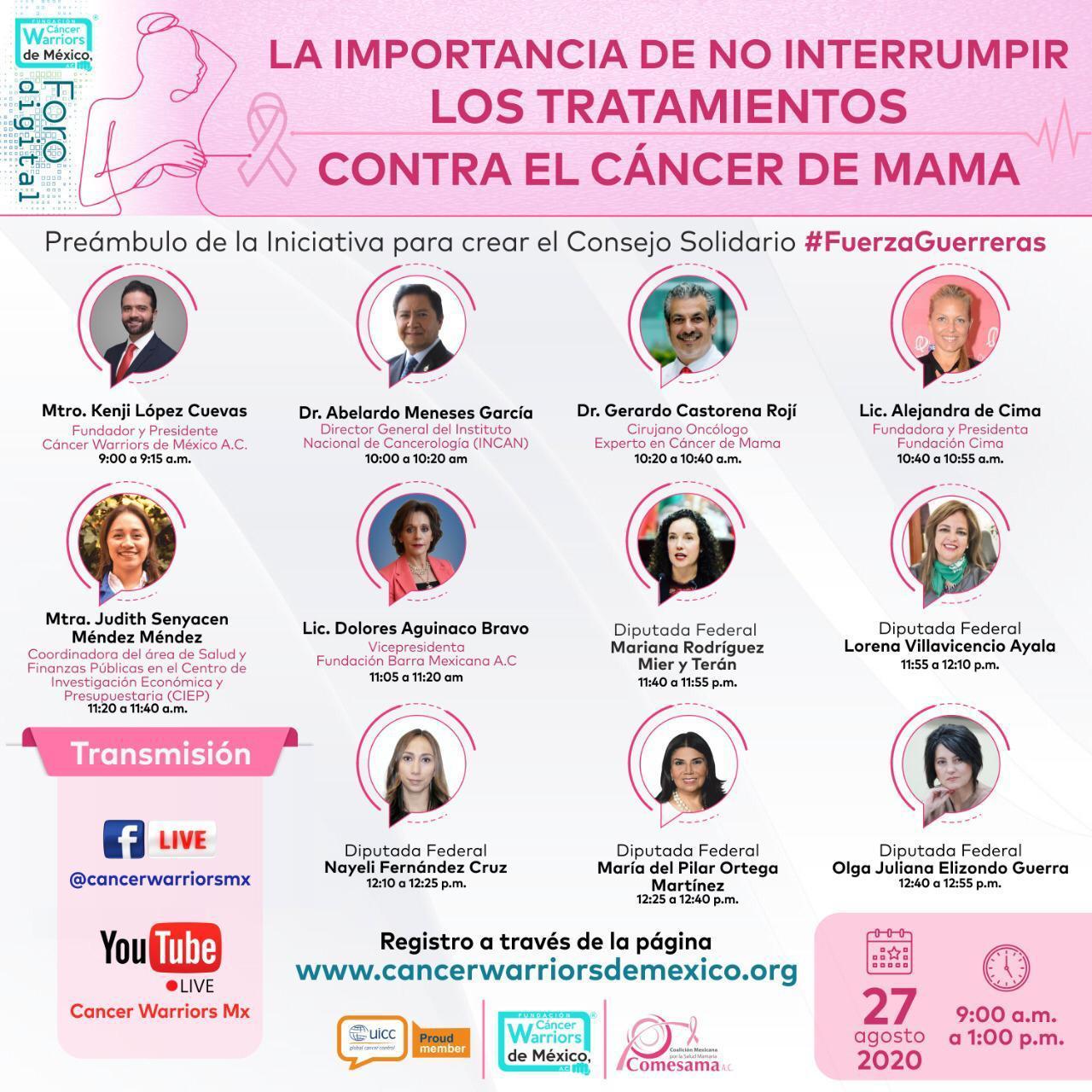 """CWM realiza foro digital """"La importancia de no interrumpir los tratamientos contra el cáncer de mama"""""""