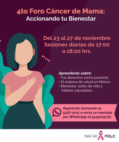 """Milc y Salvati organizan 4º Foro de Cáncer de Mama """"Accionando tu Bienestar"""""""