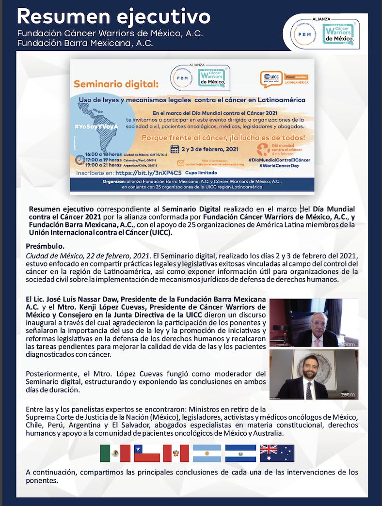 La UICC, CWM y La Barra Mexicana conmemoran el internacional del cáncer con seminario virtual