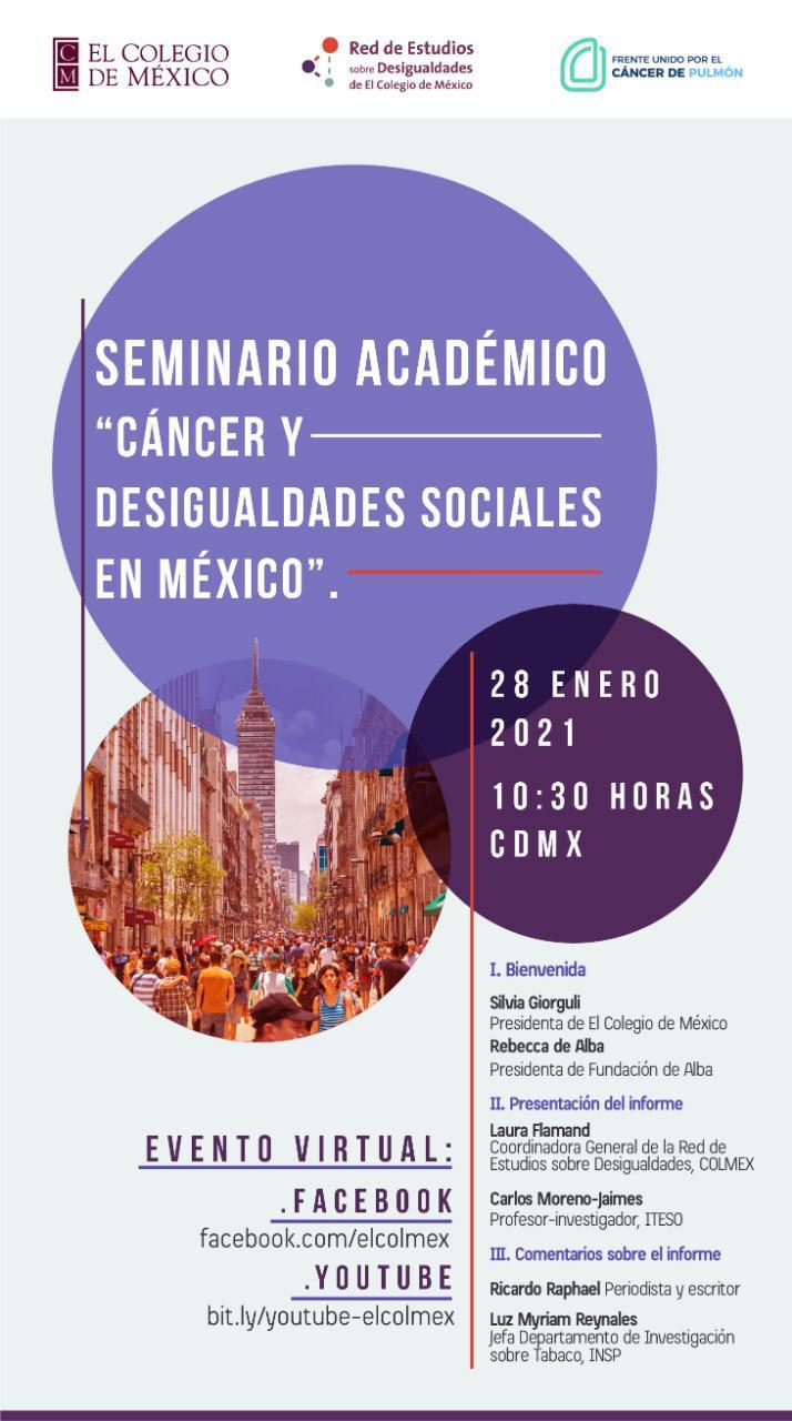 """El Colmex y el Frente Unido por el Cáncer de Pulmón presentan  """"Cáncer y Desigualdades Sociales en México 2020"""""""