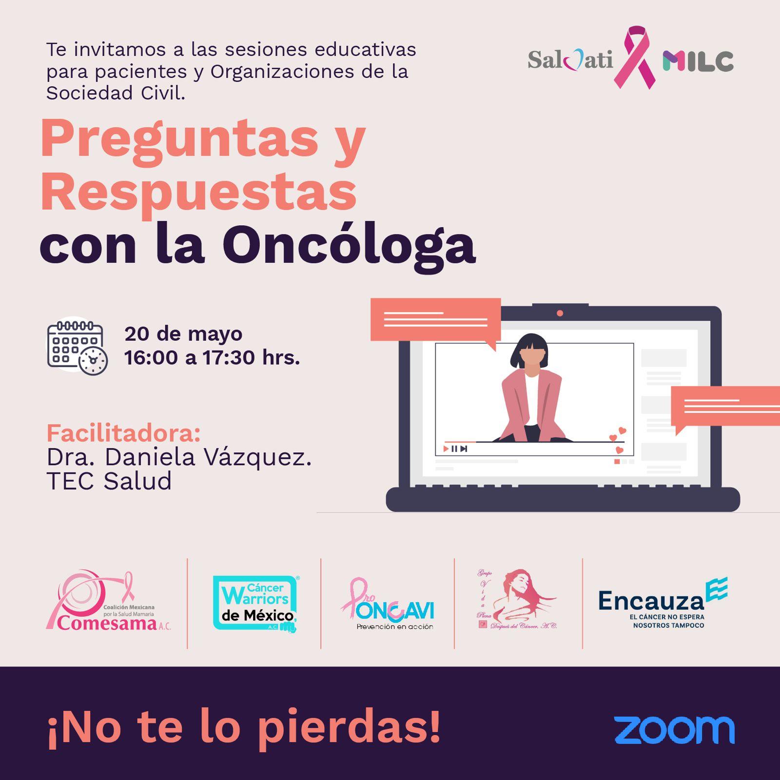 """#EstamosAqui realizó taller """"Preguntas y Respuestas con la Oncóloga"""" y continúa con encuesta"""